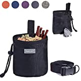 Vivaglory Dog Treat Bag, Hands-Free Puppy Training Pouch with Adjustable Waistband and Built-in Dog Waste Bag Dispenser, 2 Ways to Wear, Black