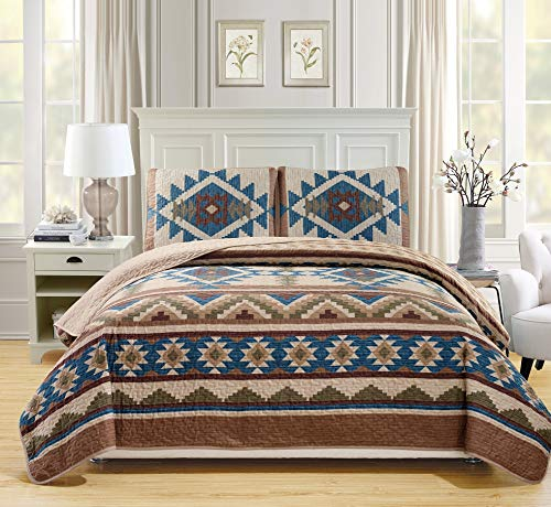 Rustic Western Southwestern Native American Tribal Navajo Design Oversized Bedspread Quilt Set in Beige Taupe Brown Blue Green Austin Taupe (King/California King)