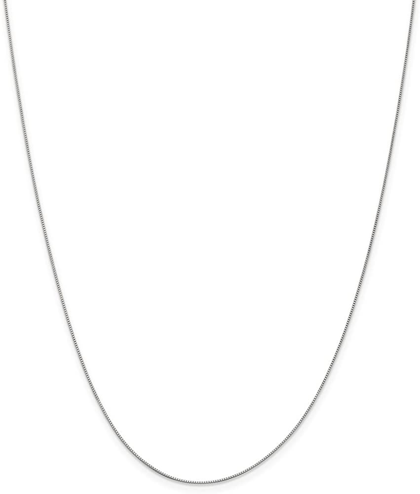 14k White Gold .5mm Link Box Spband Ring Band Clasp Chain Necklace 16 Inch Pendant Charm Fine Jewelry For Women Gifts For Her