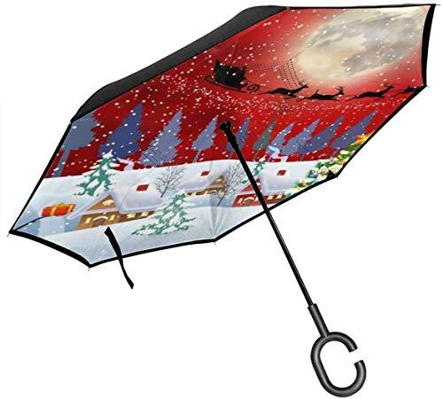 Paraguas de doble capa, plegable, resistente al viento, protección UV, portátil, con mango en forma de C, árbol de Navidad, muñeco de nieve, Papá Noel, reno, para coche, lluvia, exterior, 8 esqueletos