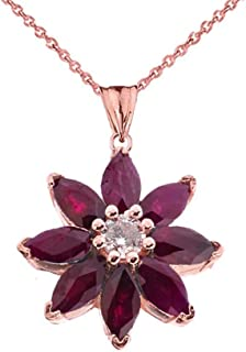 Exotic 14k Gold Daisy Diamond and Ruby Flower Pendant Necklace