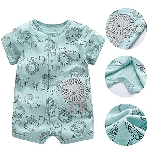 Bebé Niños Monos 3 Piezas - Verano Pijama de Algodón Mameluco de Manga Corta Animales Pelele para Recién nacido 0-3 Meses