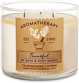 Bath and Body Works White Barn Thankful Frankincense Myrrh 3 Wick Candle Aromatherapy 14.5 Ounce
