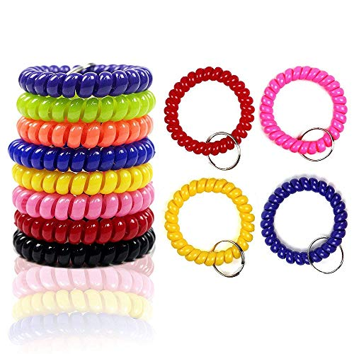 HEHALI 12Pcs Wrist Coil Wrist Keychain Colorful Stretch Key Chain For Gym, Pool, ID Badge