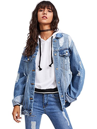 Floerns Women's Ripped Distressed Casual Long Sleeve Denim Jacket Blue M