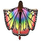 WEXCV Schmetterlingsflügel Damen Bunte Schmetterling Flügel Frauen Fasching Kostüm Karneval Zubehör Kleidung Accessories Erwachsene mit Schal Umhang Cloak Party Cosplay 168 * 135CM