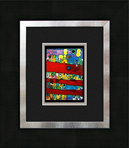 artissimo, Kunstdruck gerahmt, 40x45cm, AG3082, Friedensreich Hundertwasser: Rote Flüsse, Bild, Wandbild, Poster, Wanddekoration