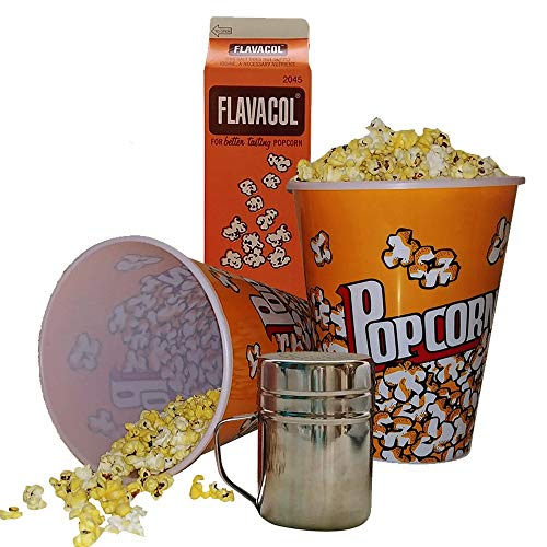 Popcorn Bucket (2 Pack) 8 cups each | Popcorn Salt Shaker | Flavacol Popcorn Seasoning