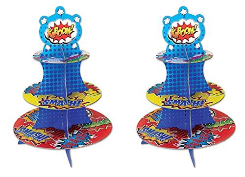 Beistle Juego de 2 Soportes para Cupcakes y postres de Hero Party Supplies, Multicolor, 16