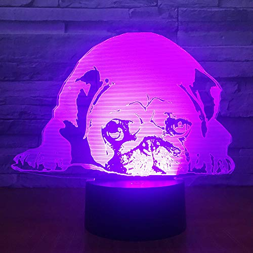 Jinnwell 3D French Bulldog Night Light Lamp Illusion Night Light 7 Color Changing Touch Switch Table Desk Decoration Lamps Gift USB Cable Toy (Bus)