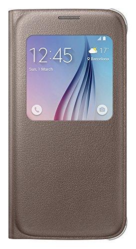 Samsung Leather-Effect S-View Folio Schutzhülle Case Cover in Kunstleder für Galaxy S6, gold