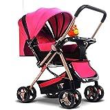 MU Sillas de paseo cómodas Baby Push Lite Shopper Neo Asas ajustables Silla de paseo Cochecito de bebé Edad 18 meses - 3 años,ROSADO