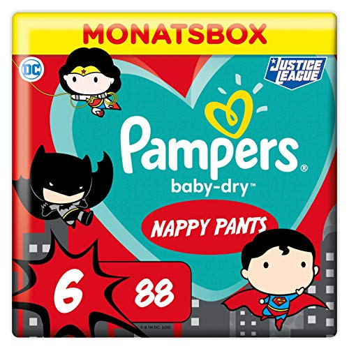Pampers Windeln Pants Größe 6 (15+kg) Baby Dry, 88 Höschenwindeln, MONATSBOX, Superhelden, Einfaches An- und Ausziehen, Zuverlässige Trockenheit