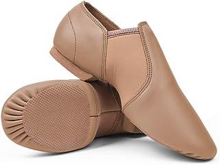 STELLE Leather Jazz Slip-On Dance Shoes for Adult Women Men