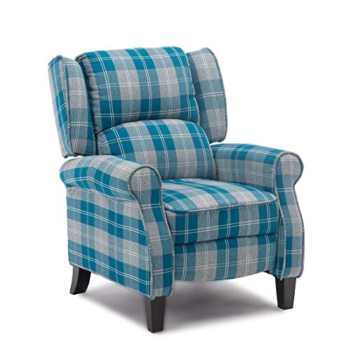 BOJU Comfy Blue Recliner Armchair Chair Living Room Reclining Chair Checkered Fabric Upholstered Single Sofa Leisure Chairs with Arms Lounge Bedroom Home Cinema Gaming (Blue)