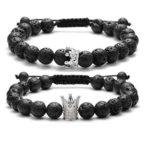 Jovivi Bracciali Coppia Elastici e Regolabili Re e Regina King And Queen Corona in Pietra Lava Braccialetti Coppia Perline 8 mm, Regalo