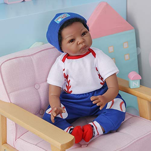 Kokomo 55cm 22 inch Reborn Baby Doll Boy African American Silicone Babies Look Realistic Black Indian Weighted Doll Sets