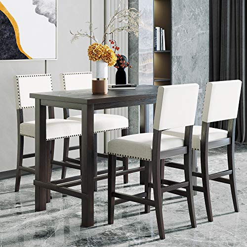 Merax 5 Piece Dining Table Set Counter Height Dining Set with Classic Elegant Rectangel Table and 4 Padded Chairs for Kitchen Dining Room,Black and Beige