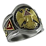Scottish Rite 32 Degree Masonic Knights Templar Sterling Silver 18k Gold Plated Freemasonry Signet Ring KTR005 (12)