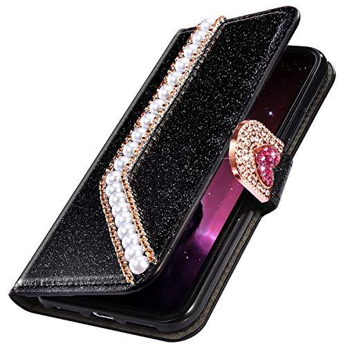 MoreChioce Kompatibel mit Samsung Galaxy S10 Hülle Luxuriös Glitzer Schutzhülle mit Liebe Perlen Diamant Bling Sparkle Lederhülle Klapphülle Brieftasche Handyhülle Etui Magnetverschluss,Schwarz