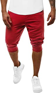 90968971d97 NINGNETI Hombres Fitness Patchwork Culturismo Piel de Bolsillo Pantalones  Deportivos Cortos Pantalones De Hombre Vaqueros Pantalones