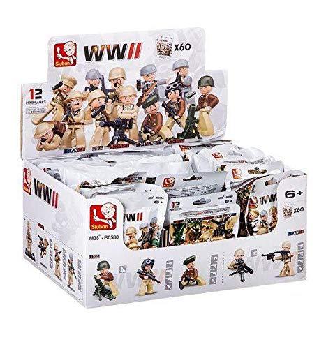 Nice Soldados Mini Segunda Guerra Mundial-Display de 60 Piezas Personajes, Multicolor, 8056779180605