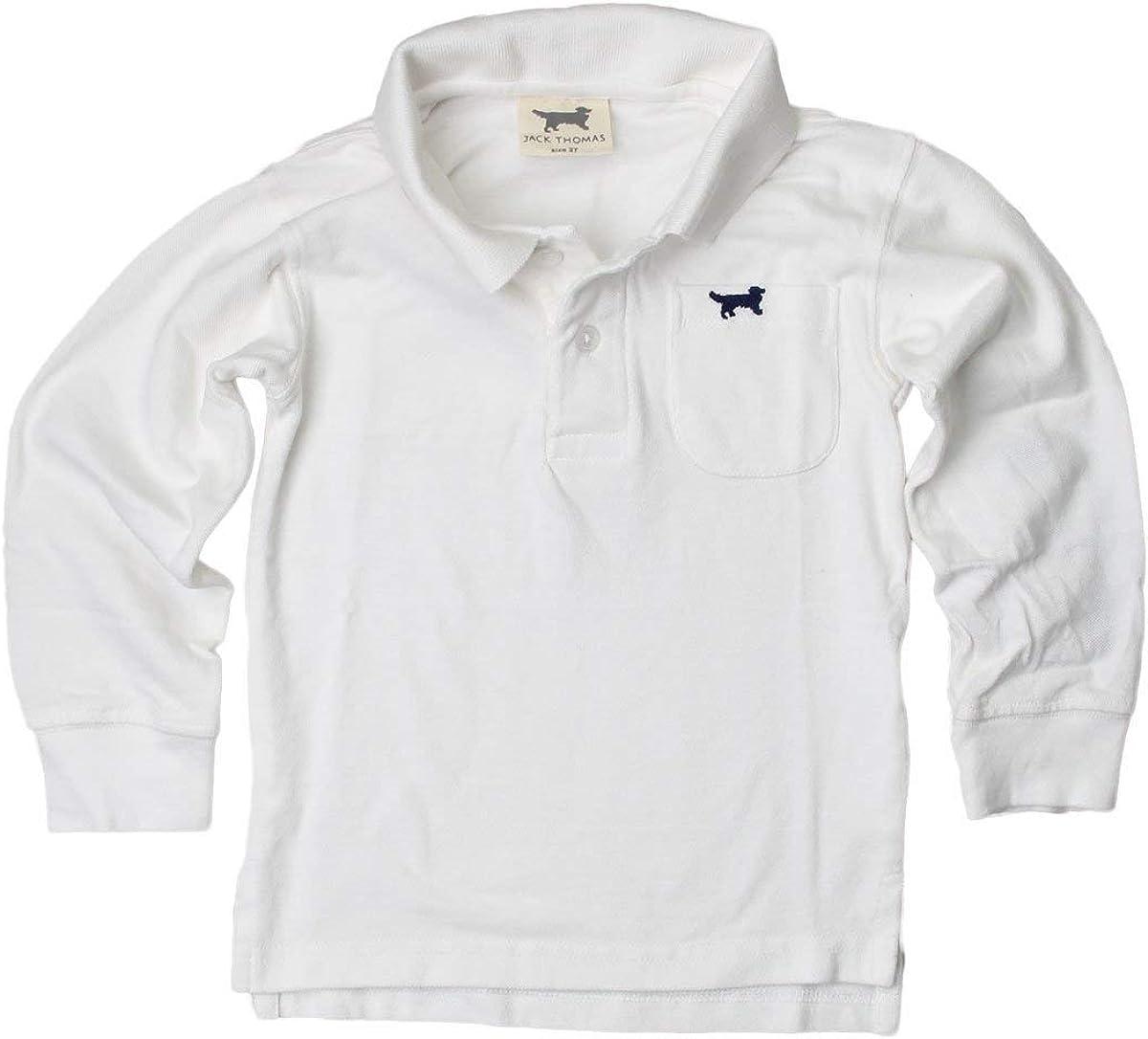 Jack Thomas Boys Long Sleeve Polo-White