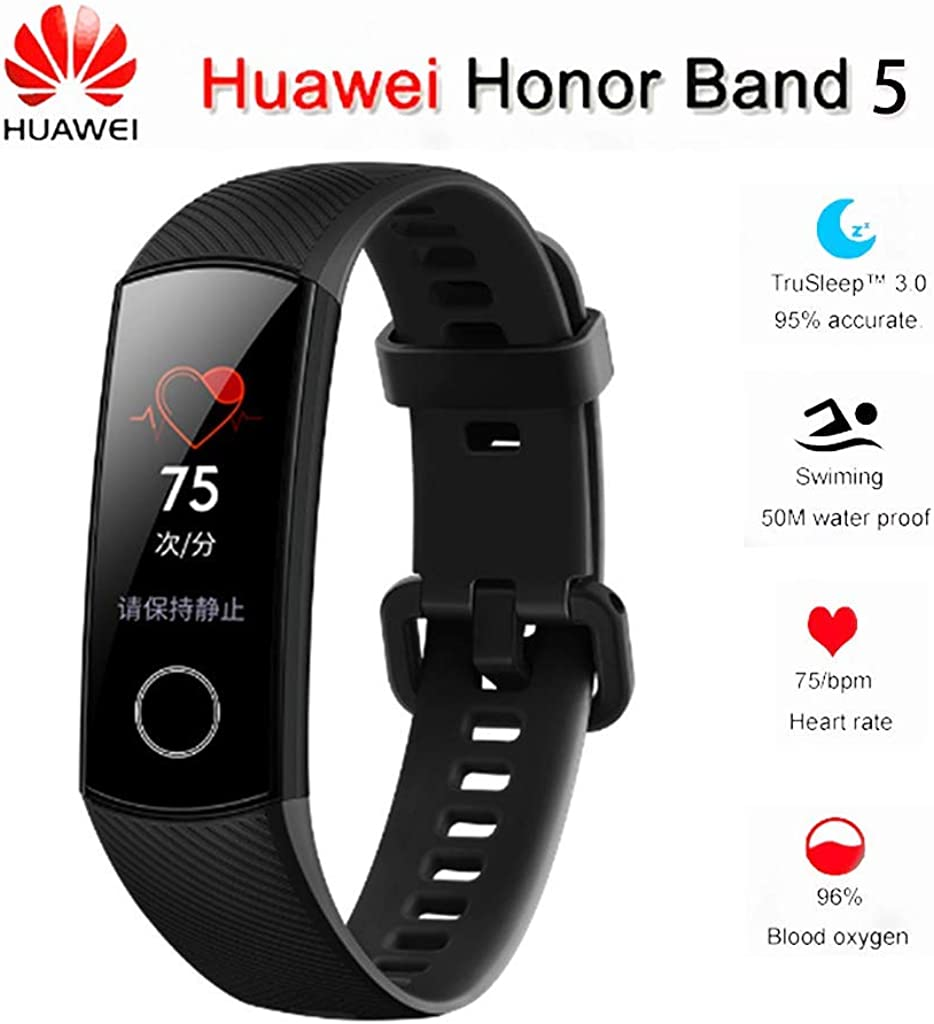 """Huawei Honor Band 5 0.95"""" Full Touch AMOLED Color Screen Smart Bracelet Heart Rate Monitor Sleep Monitor Blood Oxygen Monitor Home Button All-in-One Activity Tracker GPS 5ATM Waterproof"""