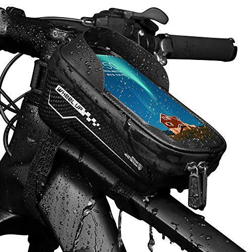Waterproof Bike Phone Mount Bag - Cycling Top Tube Bicycle Handlebar Bag with Touch Screen Sun Visor Large Capacity Phone Case for Cellphone Below 6.5inch iPhone 11 pro max 7 8 Plus xs max