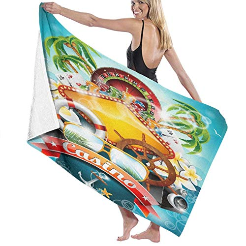Grande Suave Ligero Microfibra Toalla de Baño Manta,Un Tema de Casino con Ruleta y Cinta.,Hoja de Baño Toalla de Playa por la Familia Hotel Viaje Nadando Deportes Decoración del Hogar,52' x 32'