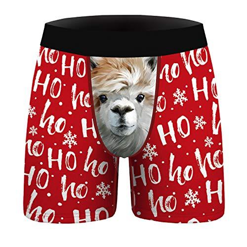 URVIP Lustige Weihnachten Unterhosen Herren 4er Pack Unterwäsche mit 3D Druck, Boxershorts Transparent Männer Reizunterwäsche Unterwäsche BKDL-014 XXL