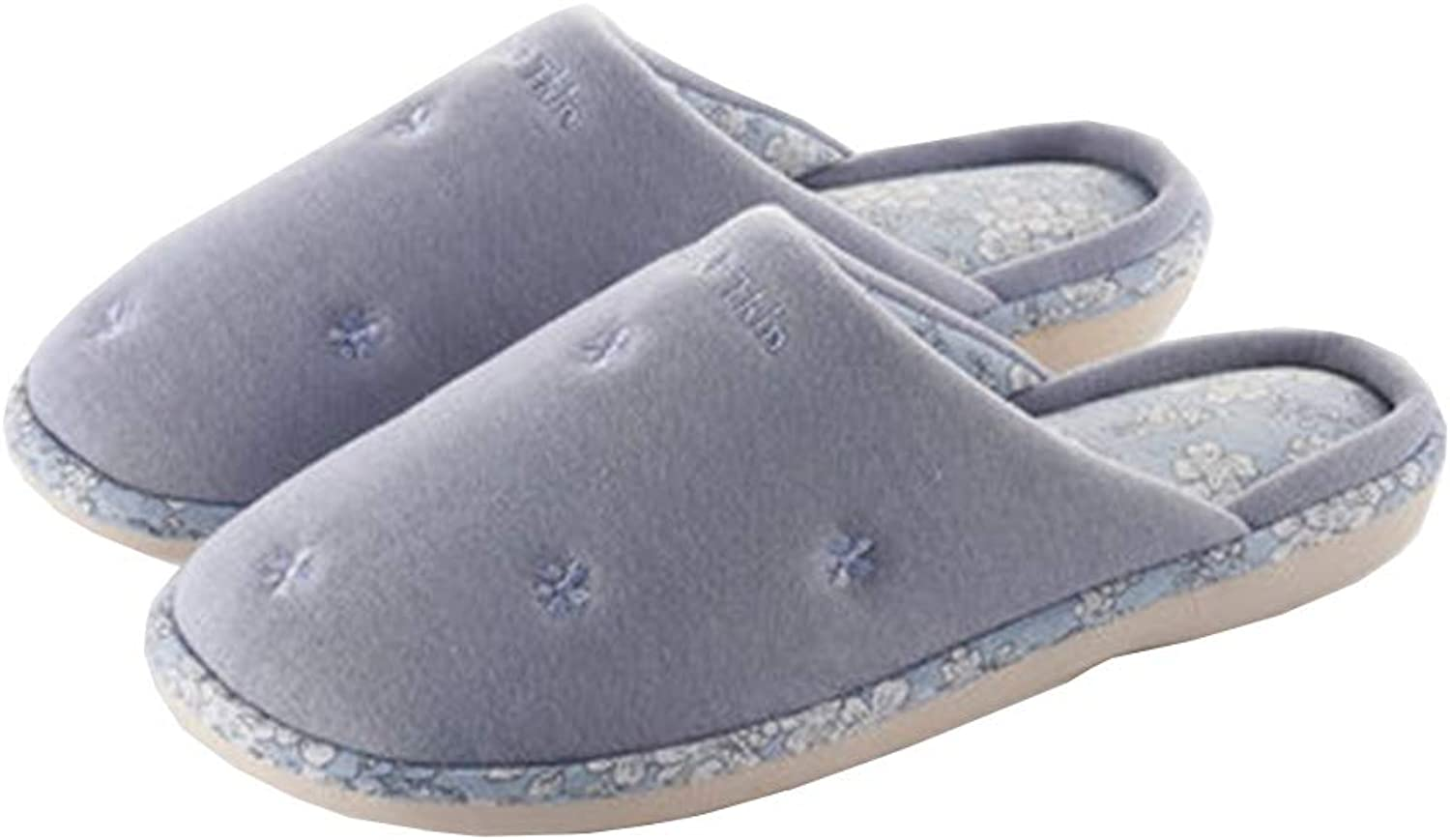 Autumn Winter Slippers,Ultra Soft Keep Warm Memory Foam Unisex Knitted Plaid Cloth Flip Flop,Washable Indoor shoes