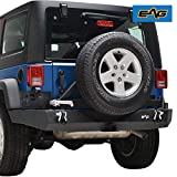 EAG Rear Bumper Full Width with Tire Carrier and Hitch Receiver Fit for 07-18 Wrangler JK Offroad
