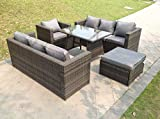 Fimous 8 Seater Lounge Rattan Sofa Dining Set Table Chair Ottoman Garden Furniture Outdoor