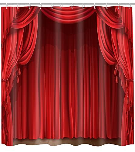 GETTOGET Theater-Duschvorhang, Show-Bühnenvorhänge, klassischer antiker roter Gardinen, Hintergr&, wasserdichter Polyester-Vorhang, Festival-Geschenk, 183 x 183 cm