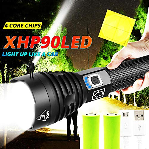 XHP90 Taschenlampe 100000 Lumen Hochleistungs-LED-Taschenlampe, wiederaufladbare USB 26650 akku, zoombare 3 Modi, IPX-6 wasserdicht, für Camping-Notfalltaschenlampen im Freien