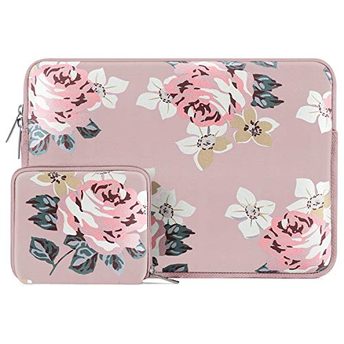 MOSISO Laptop Sleeve Compatible with 13-13.3 inch MacBook Pro, MacBook Air, Notebook Computer, Water Repellent Neoprene Rose Bag with Small Case, Pink