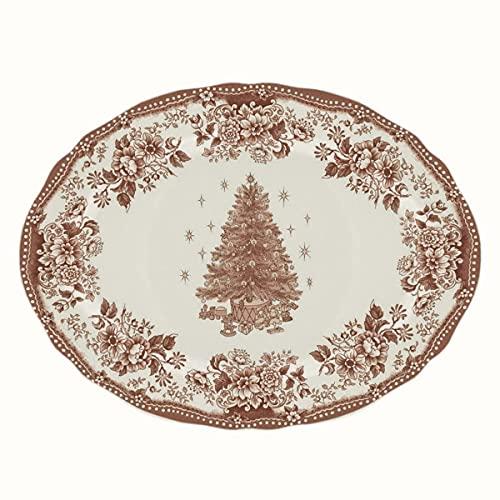 BLANC MARICLO' Bandeja ovalada navideña DIANA ROSE cerámica roja 35,4 x 26 x 2 cm