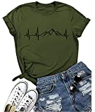 Mountain Heartbeat Graphic Tshirt Round Neck Short Sleeves Loose Casual Camping Hiking Tee Tops (Army Green S)
