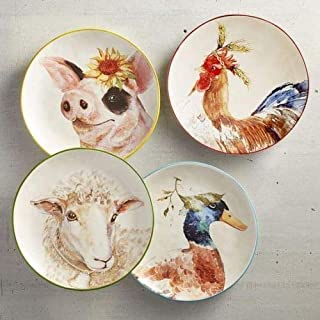 New Pier One 4pc Set Adorable Farm Animals Pig, Sheep, Rooster and Duck Salad Dessrt Appetizer Plates 8