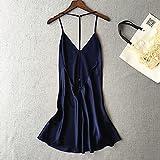 Nachthemd Pyjama Negligee Dessous Nachtwäsche Lingerie Damen Rückenfreie Sexy Damen Nachthemden Ärmellose Satinriemen Nachthemd Dünner Stil Nachtwäsche Mit V-Ausschnitt XL Blau