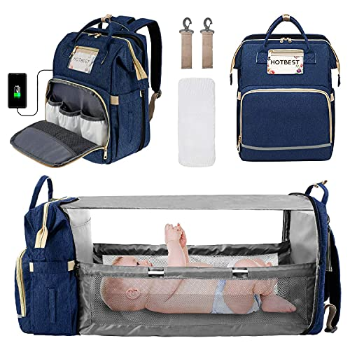 3 in 1 Diaper Bag Backpack, Portable Travel Bag with USB Port, Foldable Diaper Bag with Bassinet, Newborn Registry Baby Shower Gifts Essentials Accessories Items Stuff for Girls Boys (Blue)