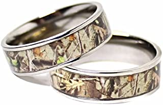 His & Hers Camo Real Oak TITANIUM Wedding Bands Rings Hunting Army Camouflage