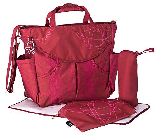 okiedog SUMO 39021 flexible Wickeltasche mit Henkel, Schultergurt, Rucksack, Kinderwagenhaken, Wickelunterlage, isol. Flaschenhalter und Zubehörbeutel, Scribbles rot, ca. 47 x 40 x 14 cm