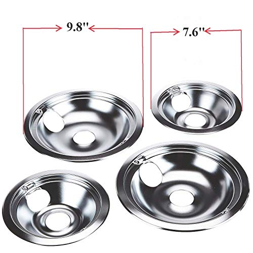 KITCHEN BASICS 101 WB31T10010 and WB31T10011 Replacement Chrome Drip Pans for GE/Hotpoint Electric Range with Locking Slot - Includes 2 6-Inch and 2 8-Inch Pans, 4 Pack