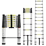 Inditradition 12.5 ft Silver Foldable Telescoping Ladder , Aluminium Frame, Ultra-Stable, Compact (3.8 Meter)