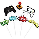 Watercolor Video Game Party Cupcake Toppers - 35 Pieces Game Theme Party Supplies for Boys Kids Birthday Party Cupcake Toppers Picks Cake Decorations