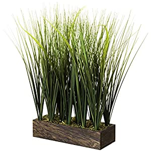 MyGift 16 Inch Artificial Shrubs Onion Grass/Faux Wheat Greenery Plants in Rectangular Brown Wood Planter Box