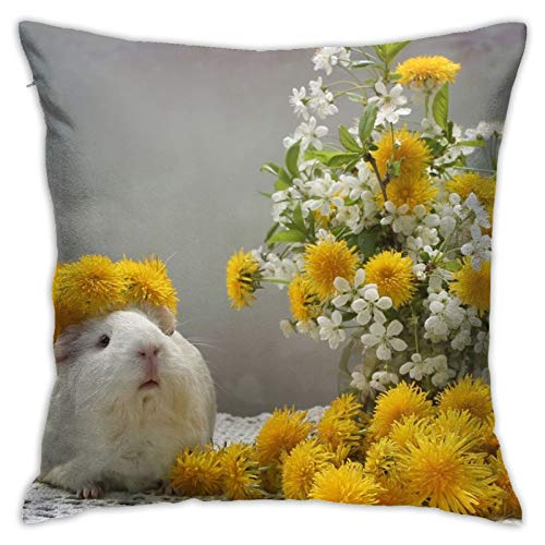 Affordable shop Fluffs Dandelions Guinea Pig Flowers Wreath Tablecloth Pillow Case Home Decorative Throw Pillow Case Cushion Cover for Gift Home Couch Bed Car 18' x18'