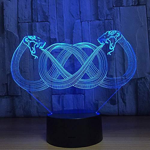 Doble Forma De Serpiente 3D Led Lámpara Usb 7 Colores Cambio De Atmósfera De Flash Luz Nocturna Interruptor Táctil Usb Lámpara De Mesa De Escritorio Decoración
